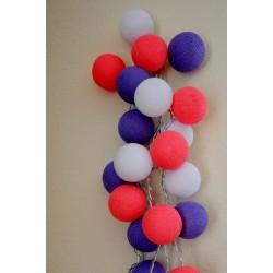 """20-er Cottonballs Lichterkette """"Lila-Pink"""""""
