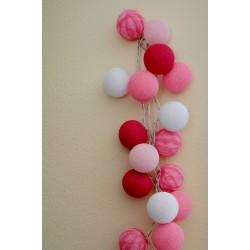 """20-er Cottonballs Lichterkette """"Mix Pink"""""""