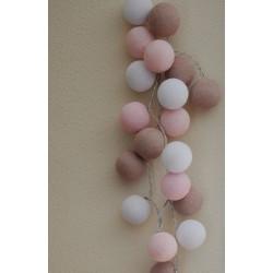 """20-er Cottonballs Lichterkette """"Zartes Pastell"""""""