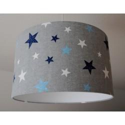 "Lampenschirm "" Sterne"" (Blau-Grau-Weiß)"